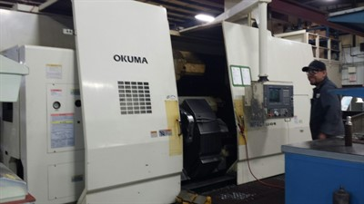 OKUMA LU 45M 2 SC 2000 5-AXIS CNC TURNING CENTER W/ HYD. STEADY